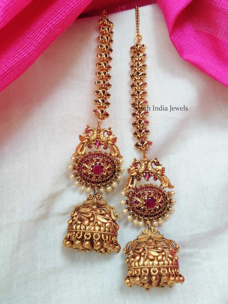 Bridal Peacock Jhumka with maatal