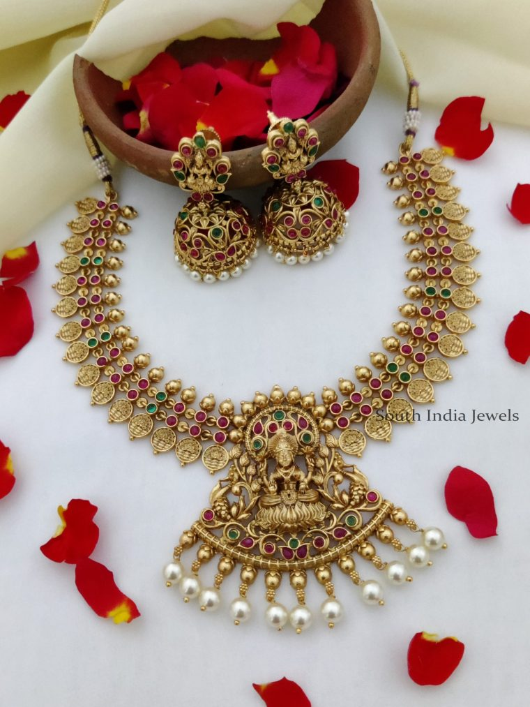 Classic Temple Design Lakshmi Necklace