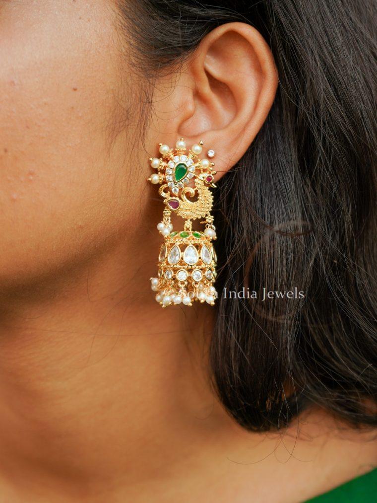 Elegant Peacock Design Jhumkas