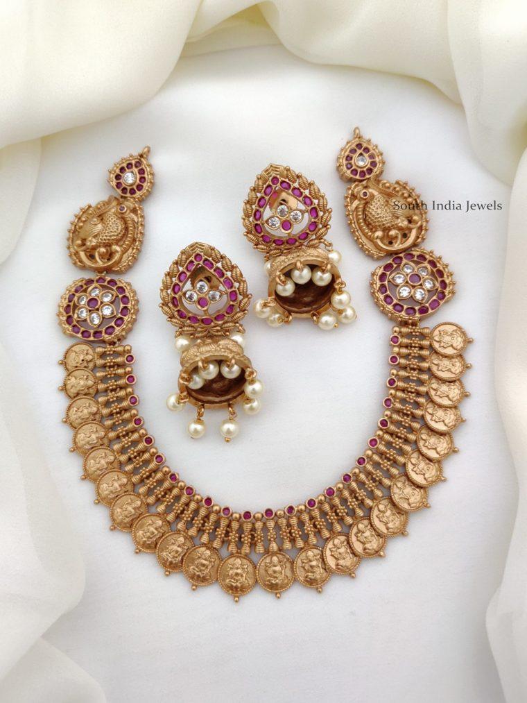 Elegant Peacock Lakshmi Necklace (3)