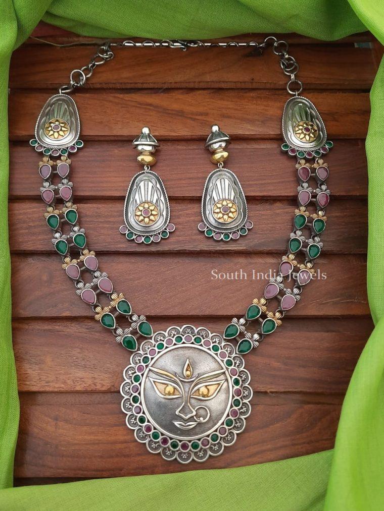 German Silver Devi Pendant Necklace