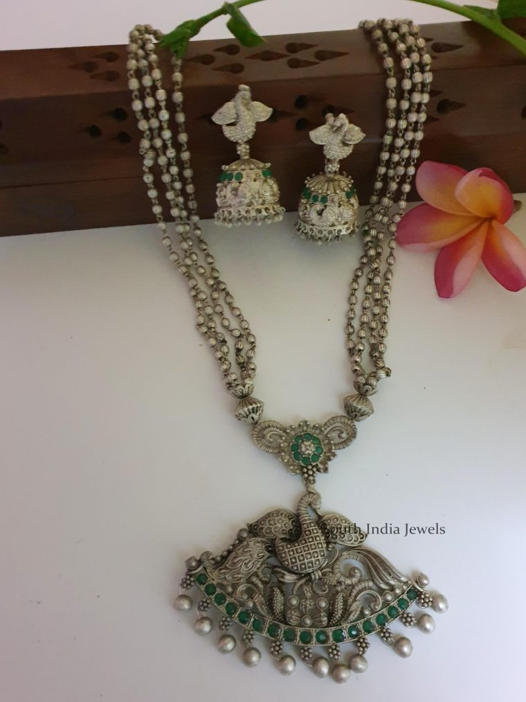 German Silver Peacock Pendant with Chain