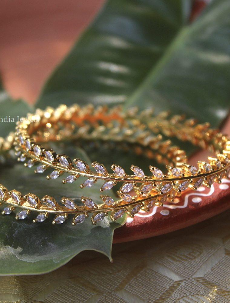 Gorgeous Leaf Design Bangles