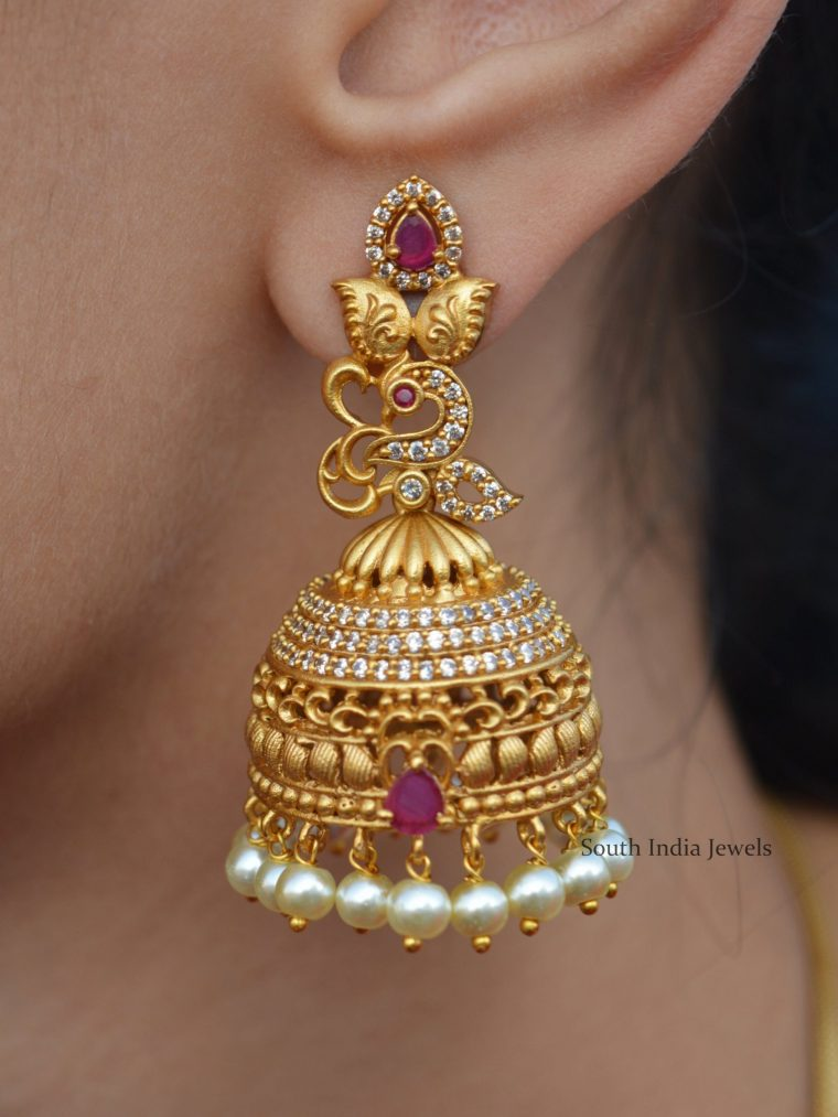 Imitation Matte Finish Peacock Jhumkas