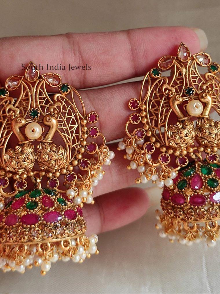 Intricate Peacock Design Jhumkas
