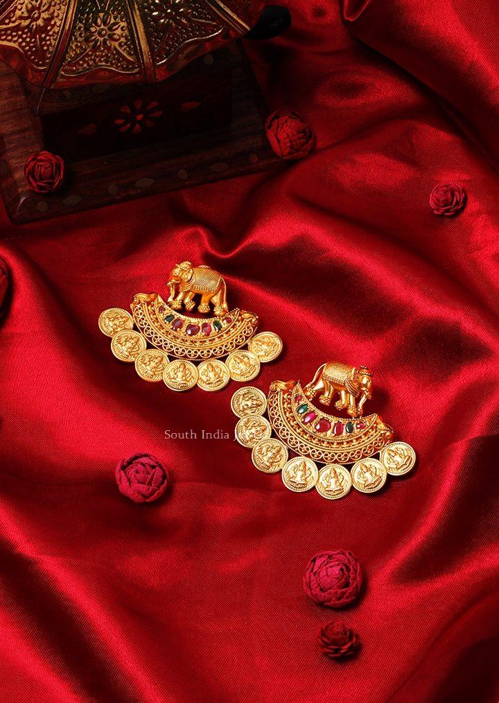 Lakshmi Kasu & Elephant Design Earrings