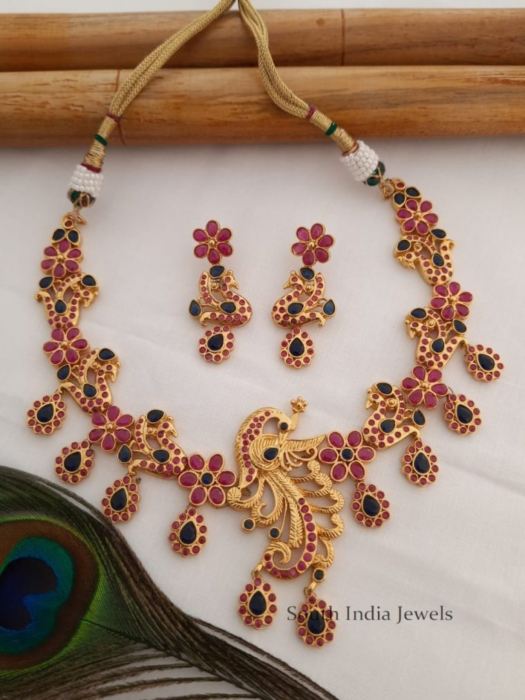 Lovely Gold Tone Peacock Necklace