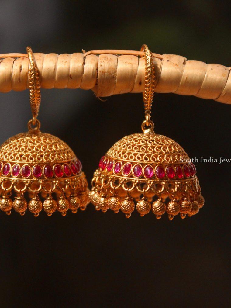 Lovely Golden Beads Ruby Jhumka