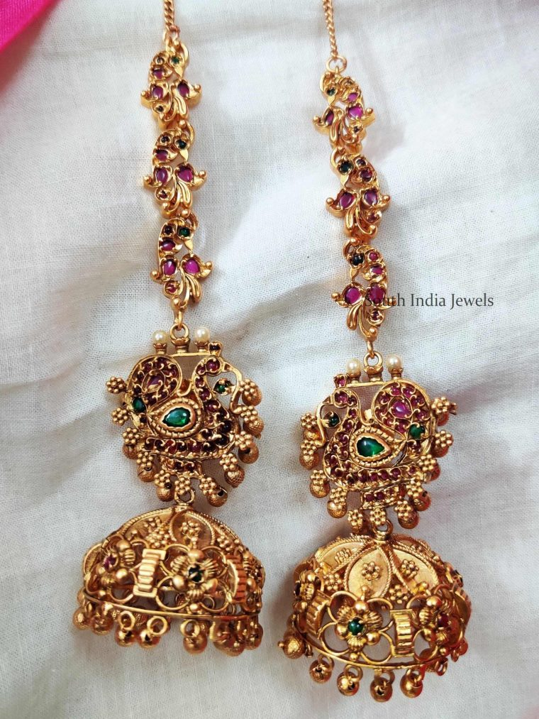 Lovely Peacock Jhumka with mattal