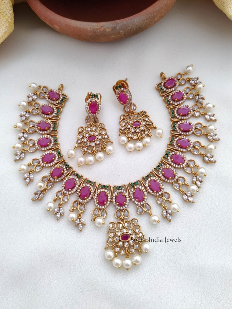 Lovely Ruby AD Stone Necklace (2)