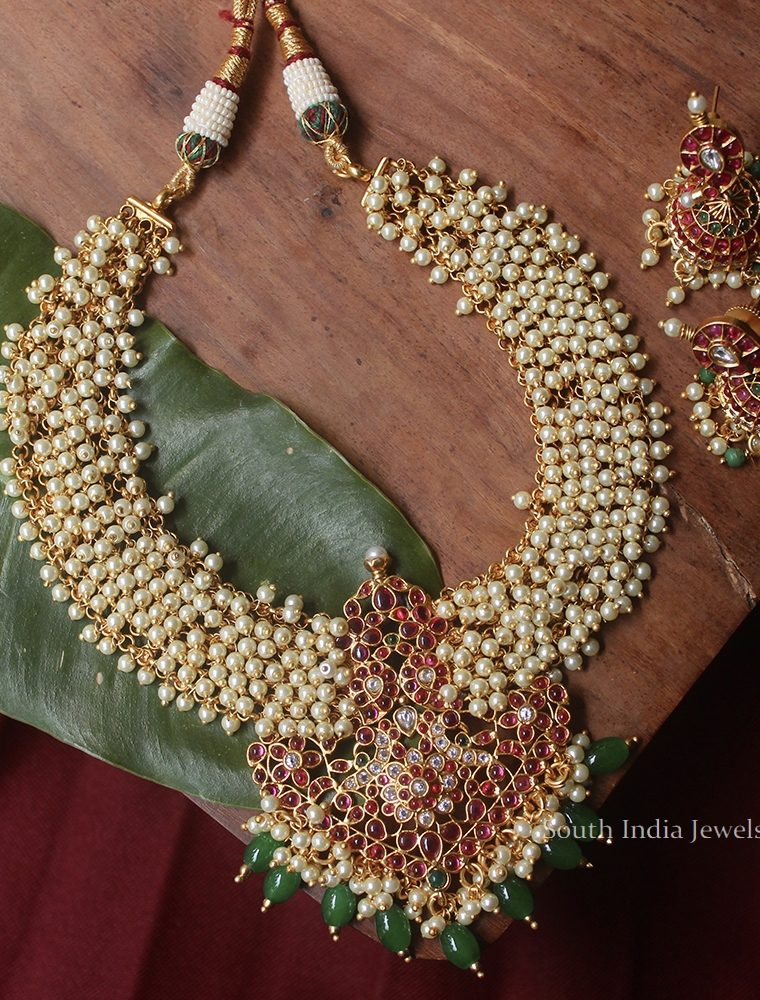 Pretty Pearl Cluter Kemp Necklace