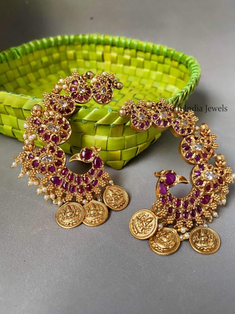 Real Kemp Lakshmi Coin & Peacock Earcuffs