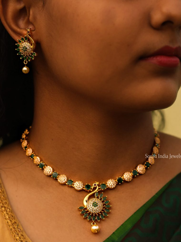 Traditional Emerald Peacock Necklace