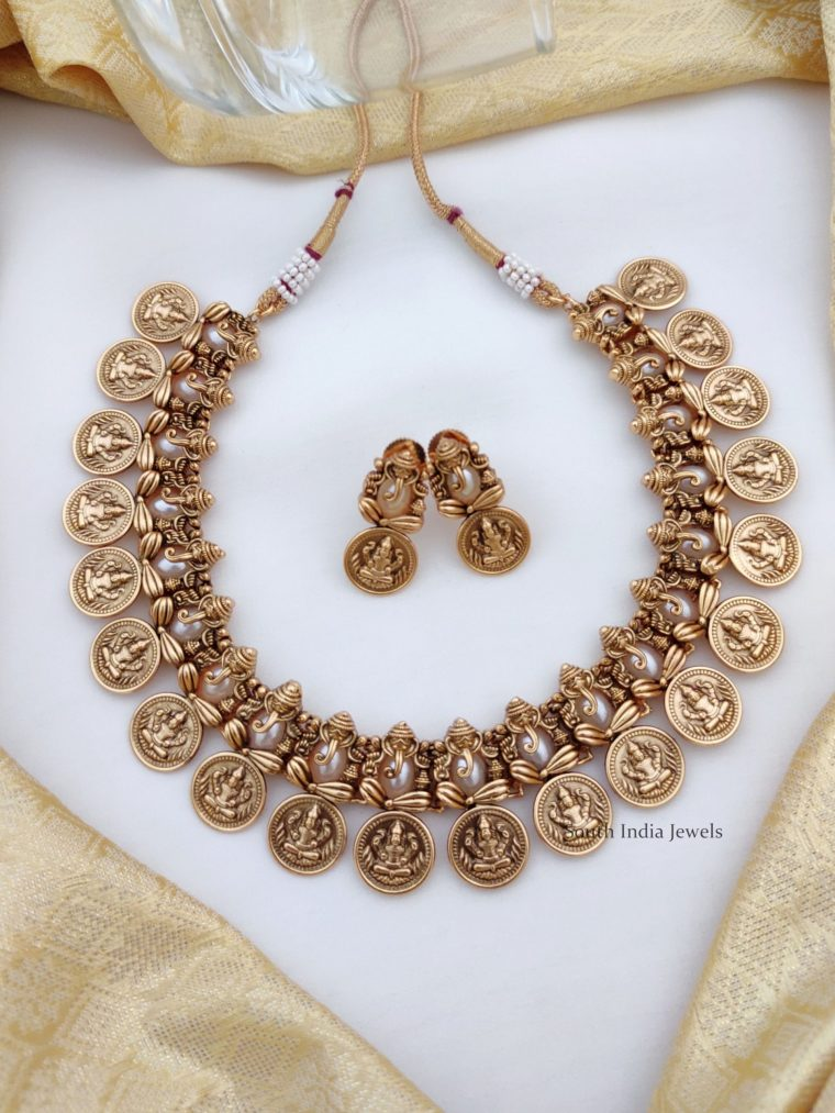 Traditional Ganesh & Lakshmi Coin Necklace (2)