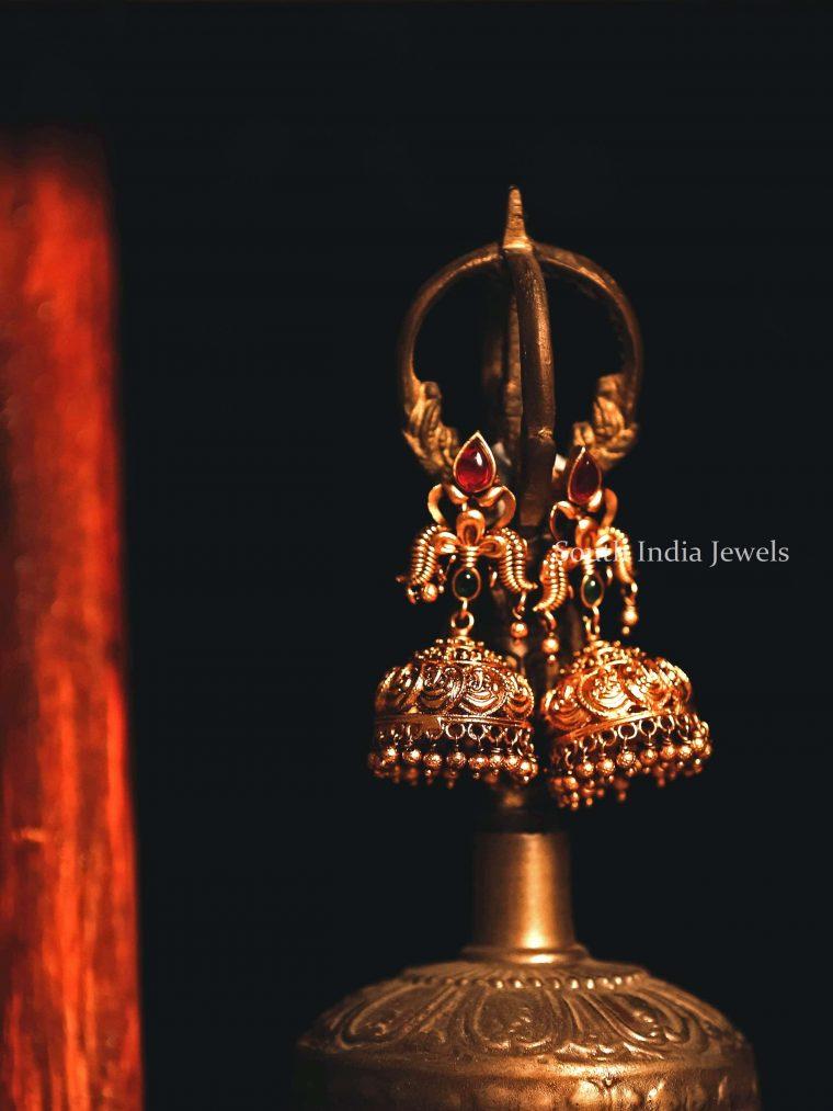 Traditional Ganesha Multi Stone Jhumka