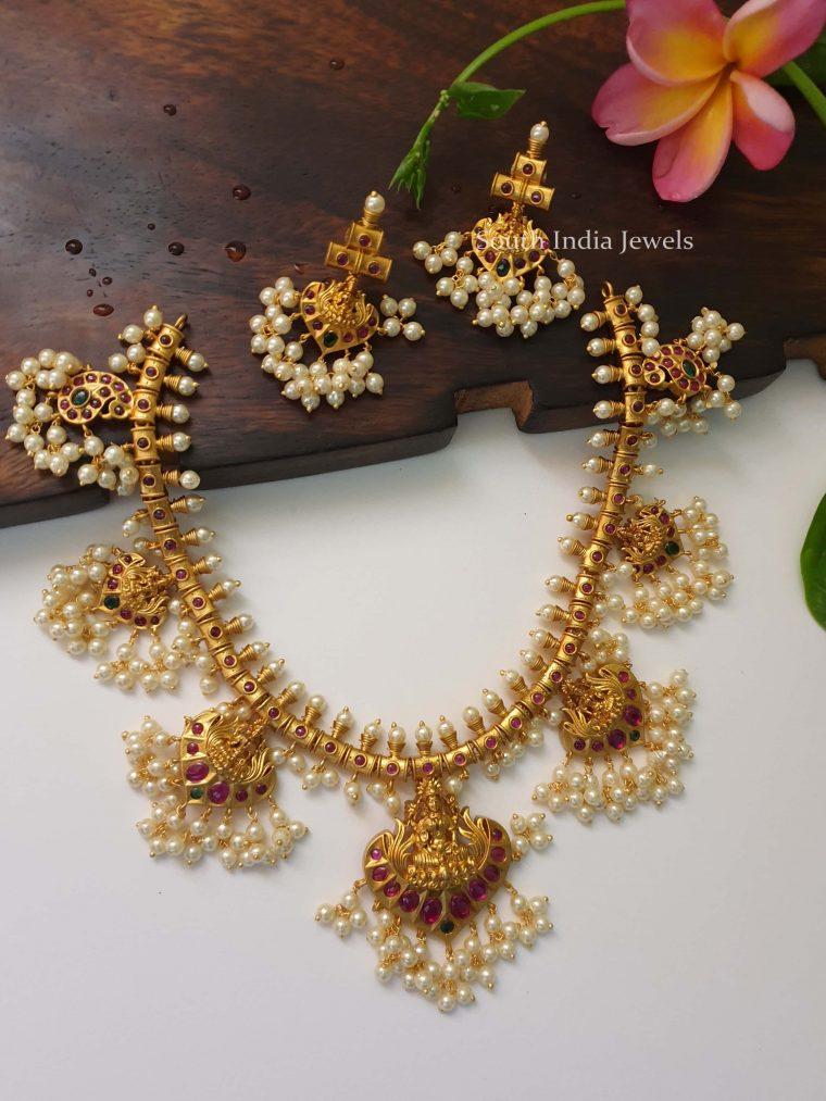 Traditional Guttapusalu Lakshmi Necklace