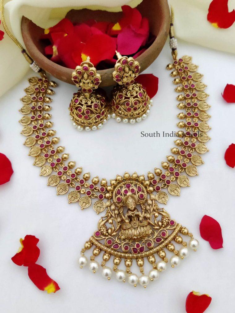 Traditional Lakshmi Design Ruby Necklace