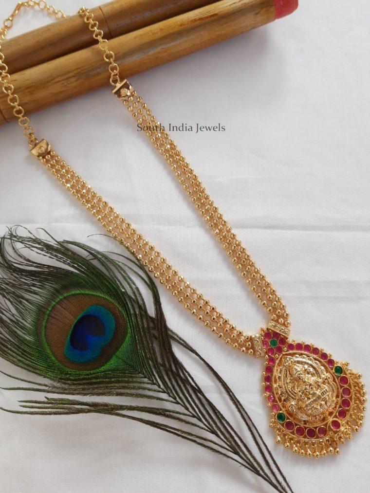 Traditional Layered Ball Chain Lakshmi Pendant