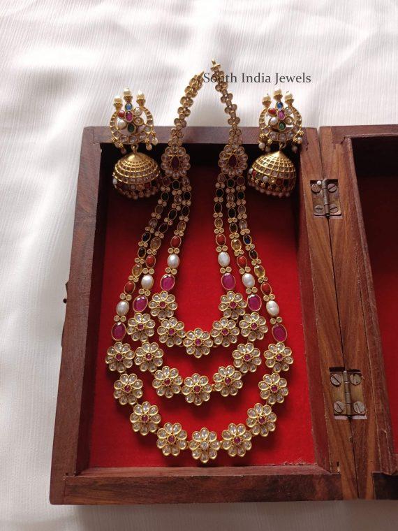 Traditional Navarathna Flower Design Haram