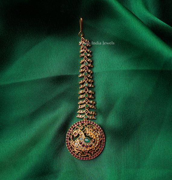 Traditional Round Peacock Maang Tikka