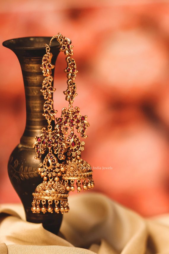 Traditional Ruby Stone Jhumka with Mattals-01