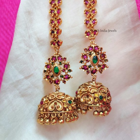 Trendy Floral Jhumka with Mattal (2)