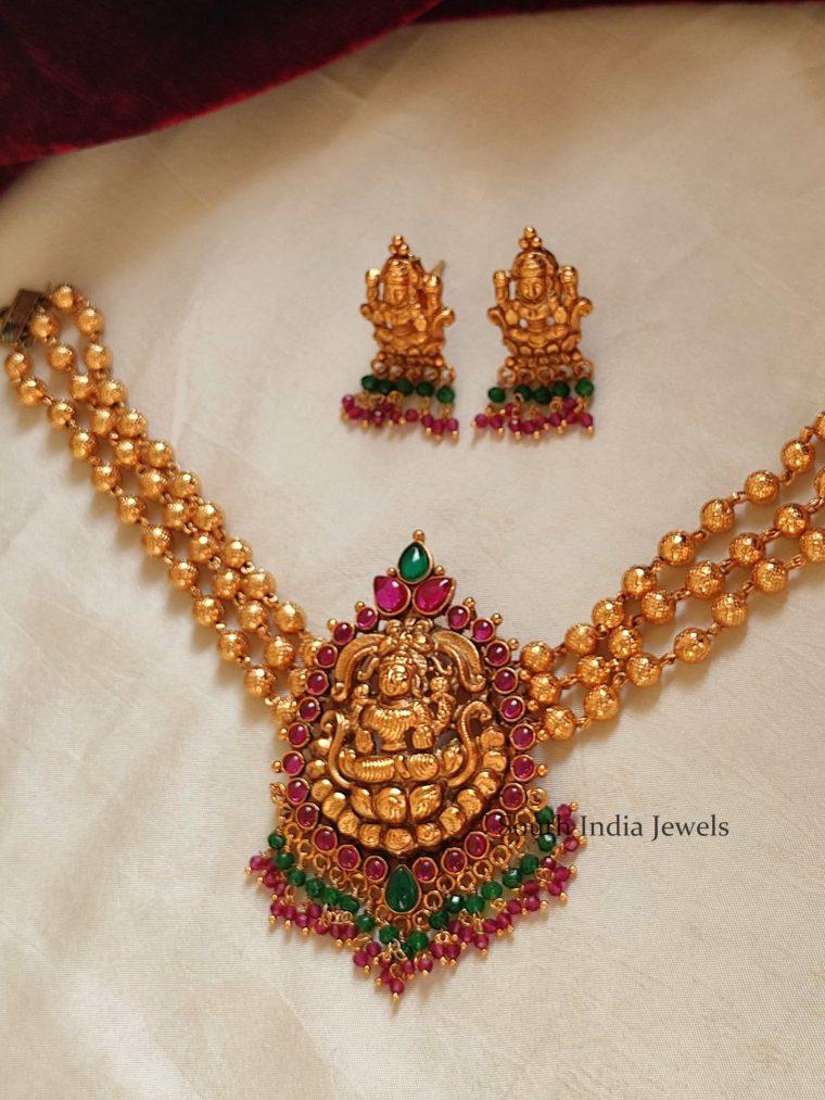 Trendy Golden Beads Lakshmi Pendant Choker
