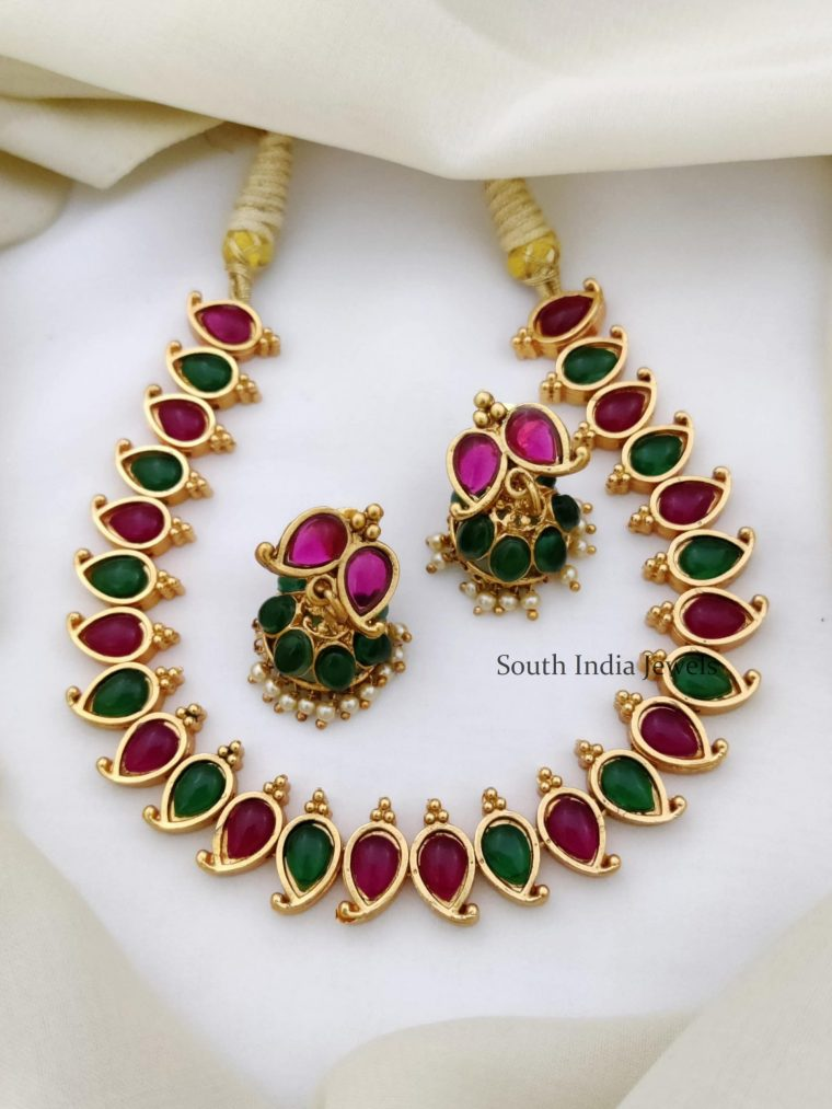 Trendy Kemp & Green Color Necklace