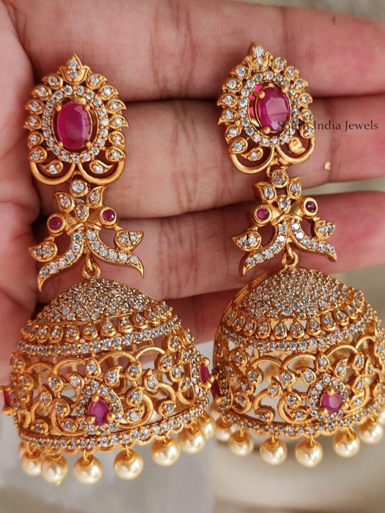 Unique AD Stone Bridal Jhumkas