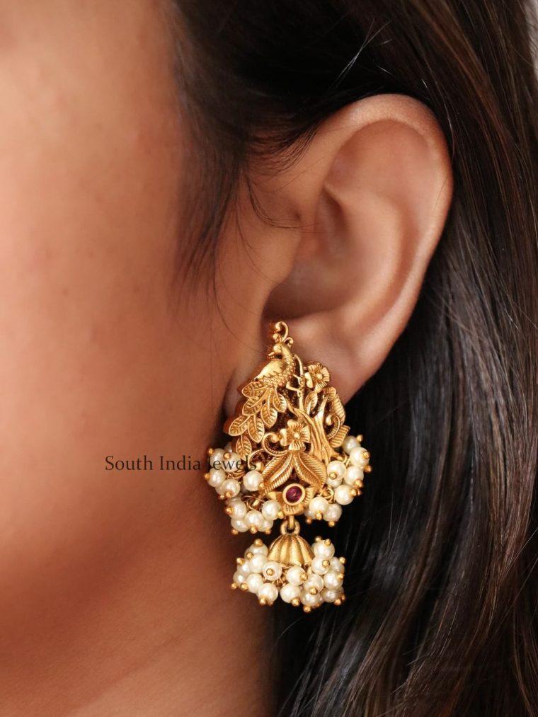 Unique Floral Design Pearl Cluster Earrings