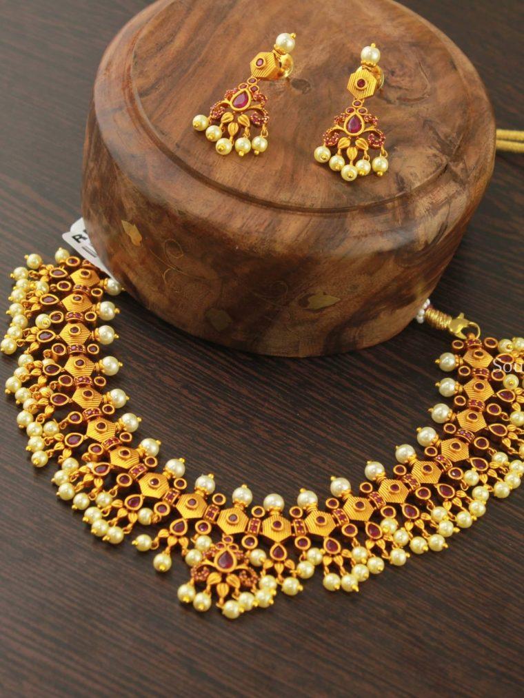 Unique Guttapusalu Red Necklace