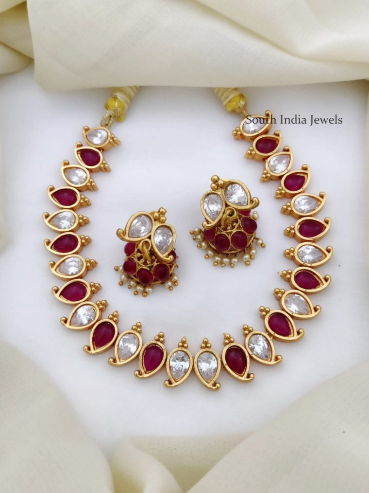 Unique Kemp & White Stone Necklace