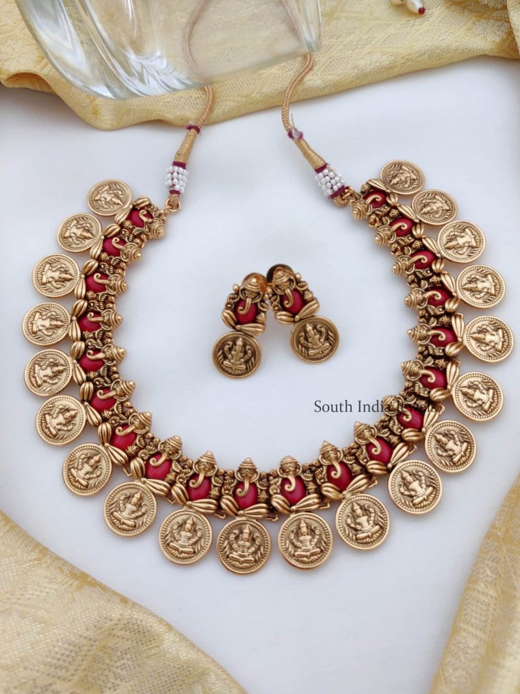 Unique Red Ganesha & Lakshmi Coin Necklace