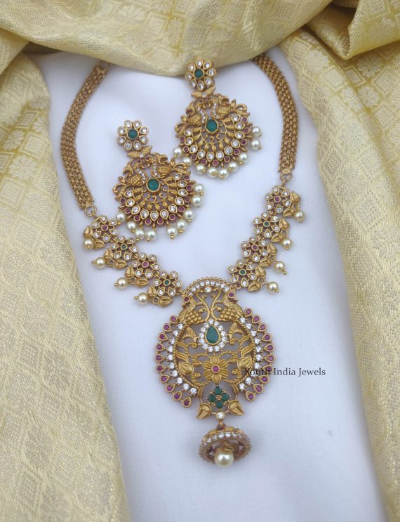 Beautiful AD Stone Peacock Necklace (2)