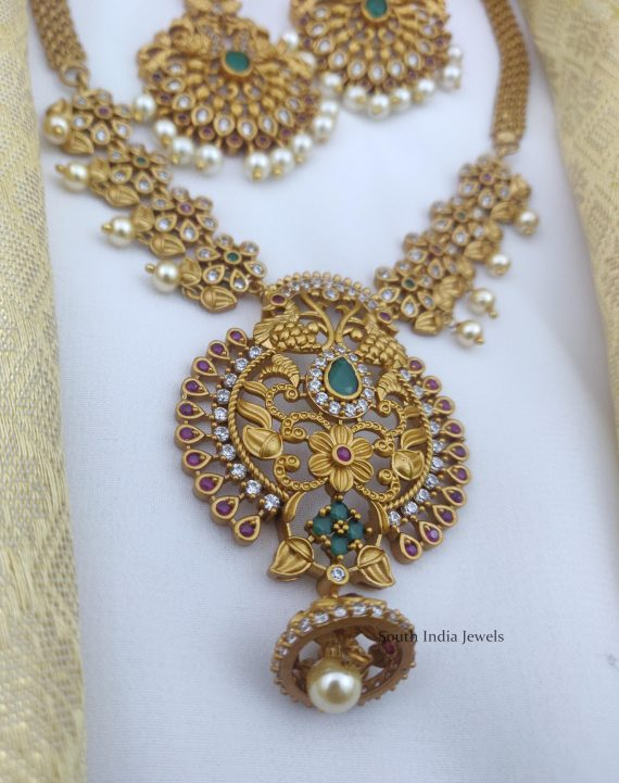 Beautiful AD Stone Peacock Necklace