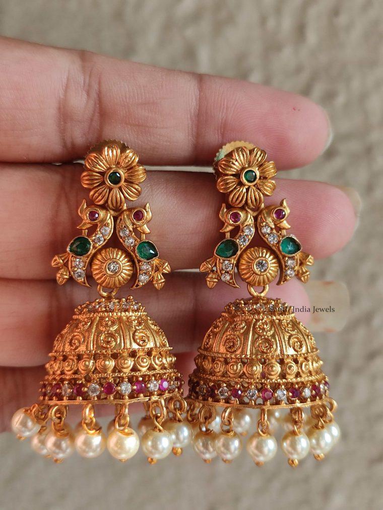 Beautiful Flower Design Pearl Jhumkas