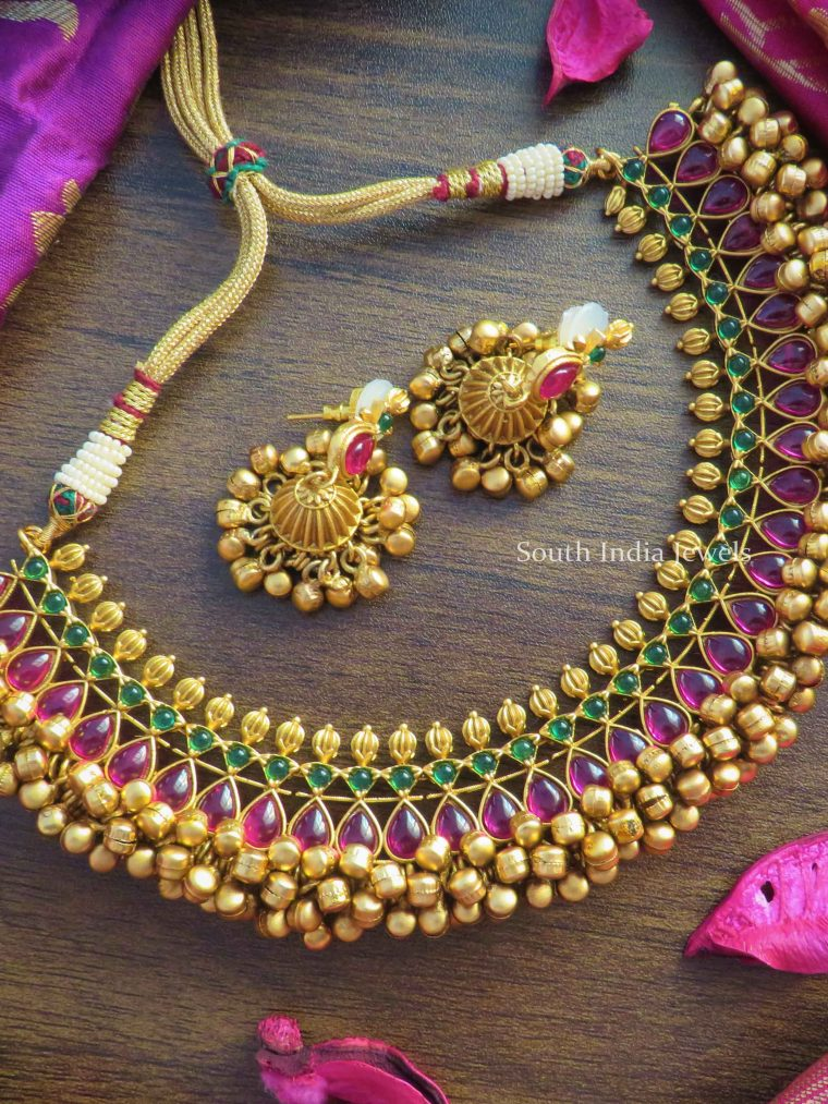 Beautiful Ghungroo Design Real Kemp Necklace