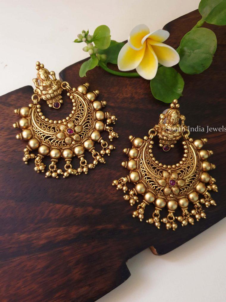 Beautiful Golden Beads Chandbali Earrings