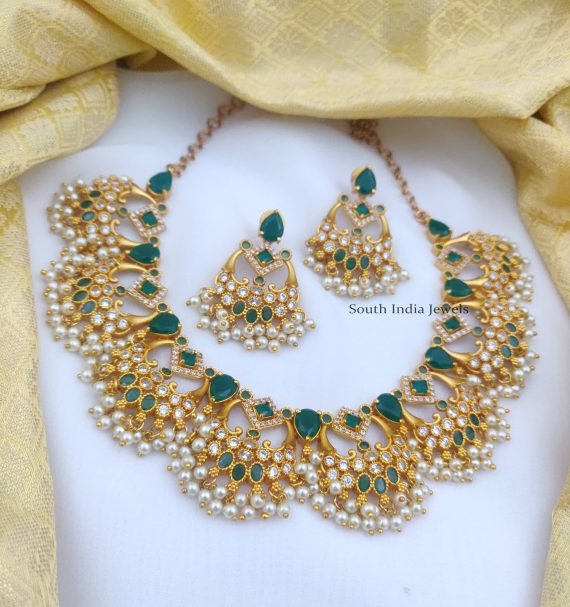 Beautiful Green & White AD Necklace