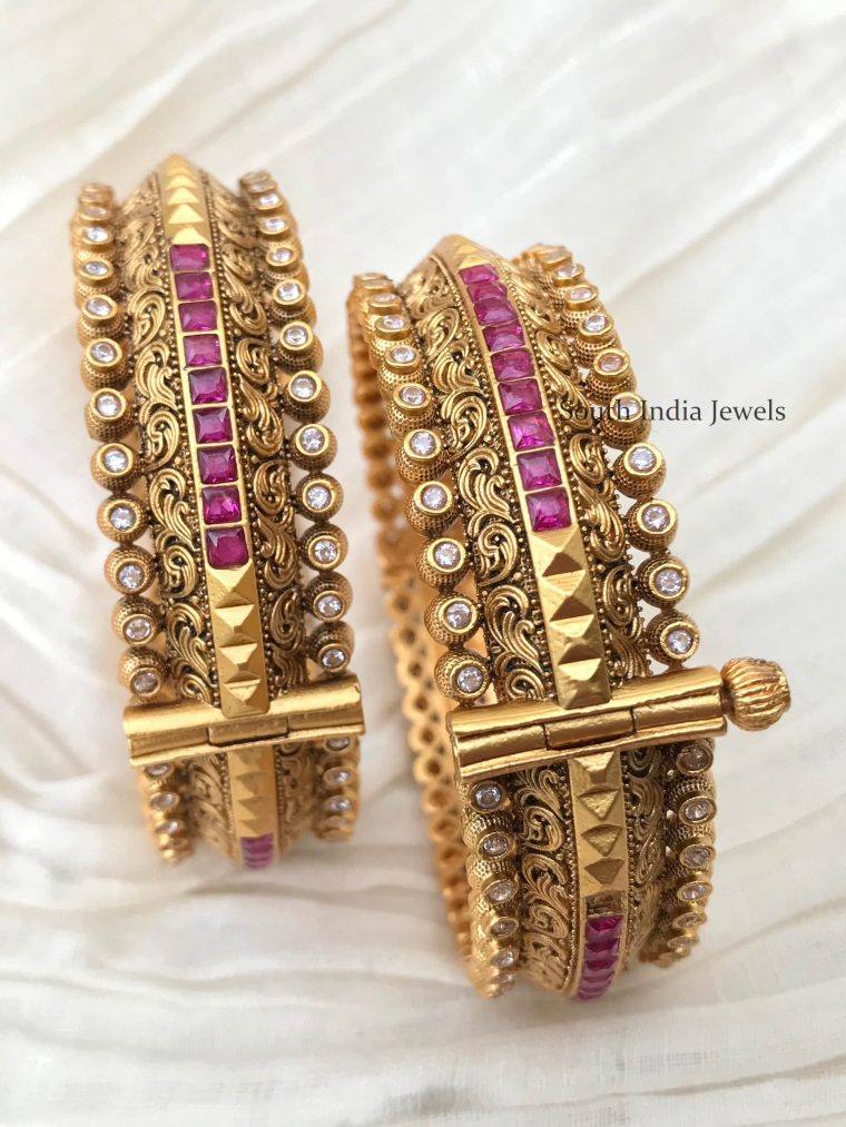 Beautiful Kundan & Ruby Bangles -01
