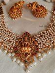 Beautiful Lakshmi Design Pearls Necklace
