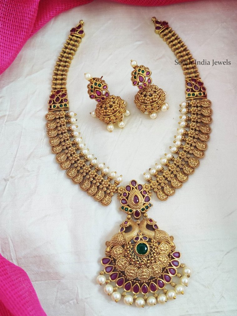 Beautiful Lakshmi coin with Peacock Necklace