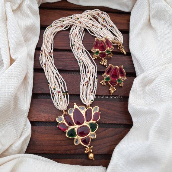 Beautiful Lotus Pendant Beads Necklace