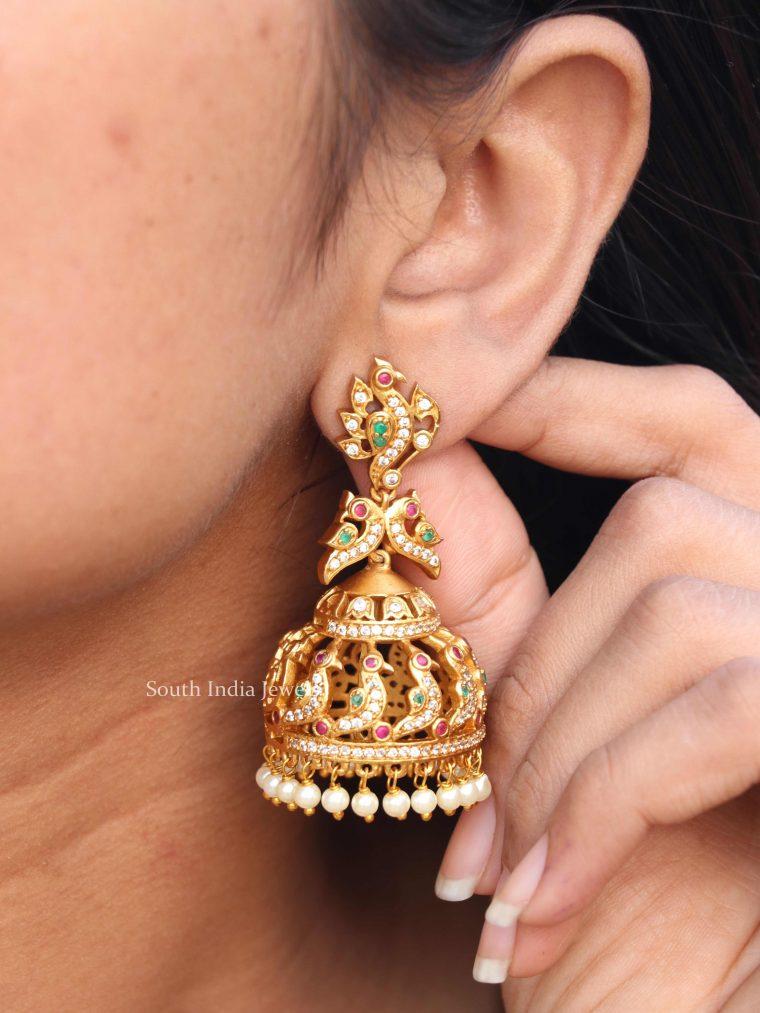 Beautiful Peacock Design Jhumkas (2)