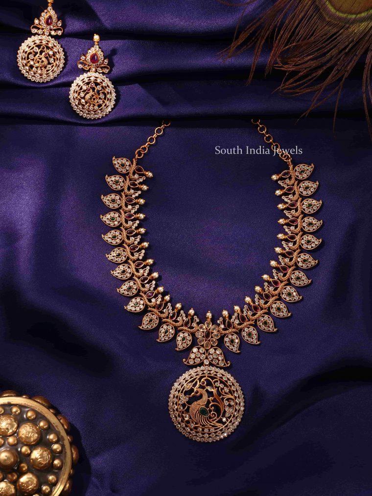 Beautiful Peacock & Mango Design Necklace