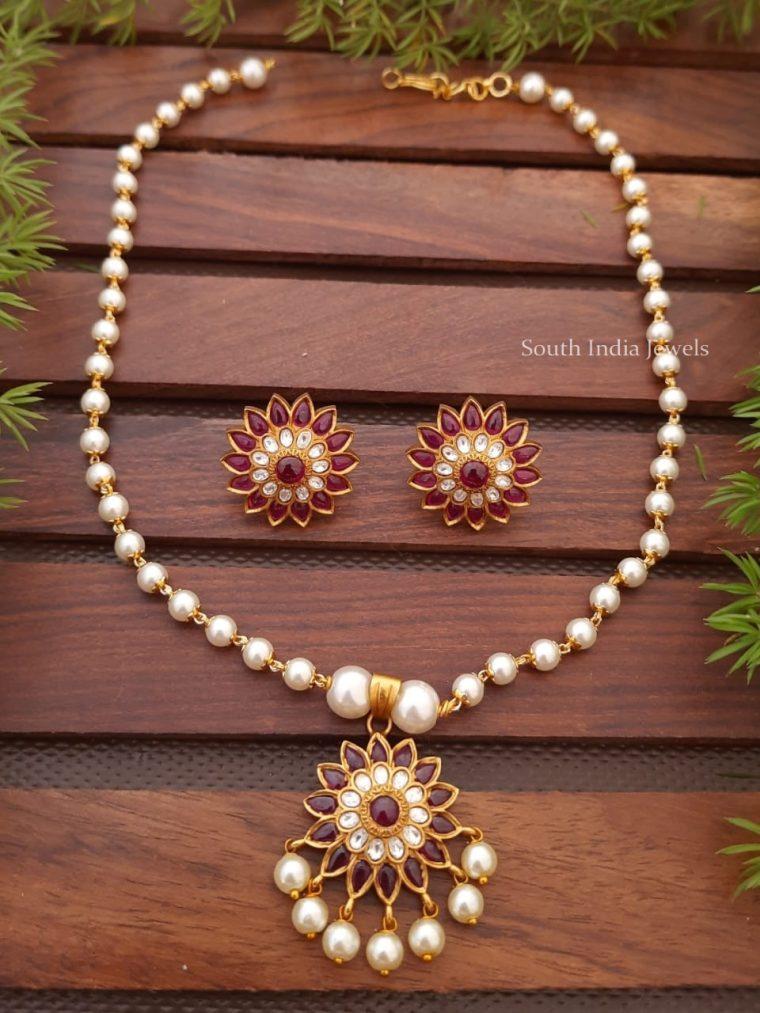 Beautiful Pearl Chain Kemp Pendant Necklace