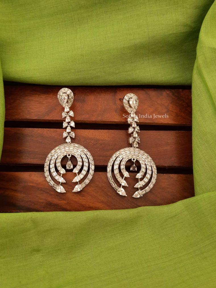 Beautiful Platinum Finish CZ Earrings