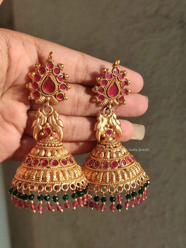 Beautiful Ruby & Green Beads Kemp Jhumkas