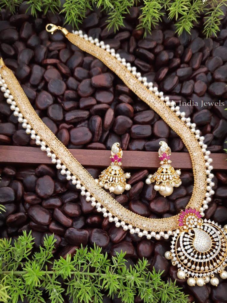 CZ Stone pearl Necklace