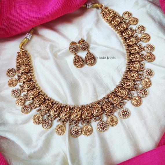 Classic Lakshmi & Peacock Design Necklace (2)
